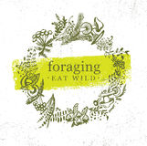 Foraging Wild Food Gathering Nature Friendly Sign Concept. Eco Friendly Nutrition Vector Design Element Sketch Style Stock Photography