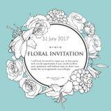 Foral tło dla poślubiać, urodziny, zaproszenie Zdjęcia Stock