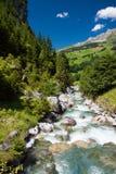Forbäcken nära Klausen passerar i schweiziska Alps Arkivfoto