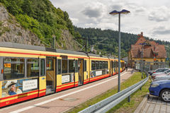 FORBACH GERMANY-JUNE 29,2015: Järnvägsstation i staden av Forbach germany Arkivfoton