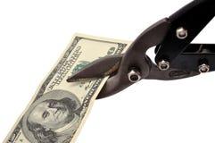 Forbice-metallo e dollaro Fotografia Stock Libera da Diritti