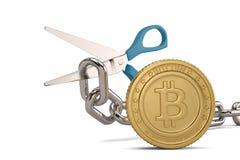 Forbici con la catena del ferro e il bitcoin dell'oro illustrazione 3D royalty illustrazione gratis