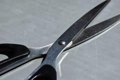 Forbici del metallo con la maniglia di plastica nera Fotografia Stock