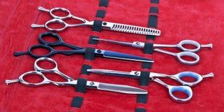 Forbici di lavoro di parrucchiere Fotografie Stock