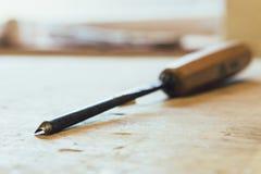Forbici di legno Immagine Stock