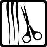Forbici e capelli, icona del parrucchiere Fotografia Stock Libera da Diritti