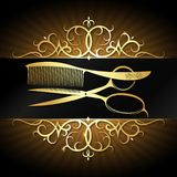 Forbici e pettine con la struttura dell'ornamento dell'oro illustrazione vettoriale