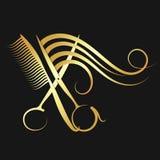 Forbici e pettine di lavoro di parrucchiere con capelli illustrazione vettoriale