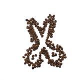 Forbici fatte dei chicchi di caffè isolati Fotografia Stock