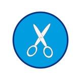 Forbici su un cerchio blu Immagine Stock