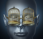 Forbidden Access. Or denied viewing of visual material with a human head with bird cage prison shaped eye glasses as symbols of being imprisoned and trapped royalty free illustration