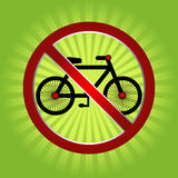Forbidden bicycle. In green background eps Stock Image