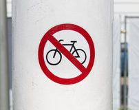 Forbidden for bicycles sign Royalty Free Stock Photos