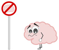 Forbidden brain sign concept cartoon illustration Royalty Free Stock Image