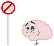 Forbidden brain sign concept cartoon illustration Royalty Free Stock Image
