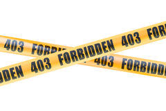 403 Forbidden Caution Barrier Tapes, 3D rendering Stock Images