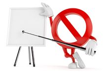 Forbidden character with blank whiteboard. Isolated on white background Stock Photo