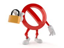 Forbidden character holding padlock. Isolated on white background Stock Images