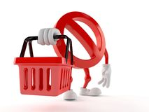 Forbidden character holding shopping basket. On white background Royalty Free Stock Images