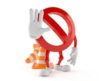 Forbidden character with traffic cone. On white background Royalty Free Stock Image