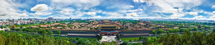 Forbidden City(Gugong,The Palace Museum)panorama. The Forbidden City(Gugong,zijingcheng) was the Chinese imperial palace from the Ming dynasty to the end Royalty Free Stock Photo