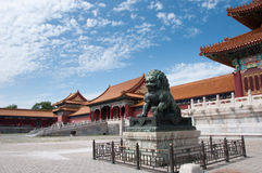 The Forbidden City. Lion Guardian at The Forbidden City, Beijing, China Stock Photo