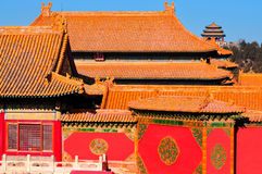Forbidden City. Lying at the center of Beijing, the Forbidden City, called Gu Gong, in Chinese, was the imperial palace during the Ming and Qing dynasties. Now Stock Images