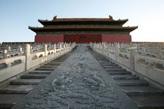The Forbidden City. Was the Chinese imperial palace from the Ming Dynasty to the end of the Qing Dynasty. It is located in the middle of Beijing, China, and now royalty free stock photos