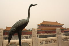Forbidden City. Crane and pavilion in Forbidden City in Beijing, China royalty free stock image