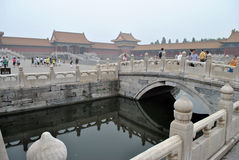 Forbidden city. It departs external of the forbidden city in which a bridge and bottom are visible flows the water Stock Photography