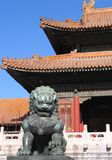 Forbidden city 4. Lion statue by the forbidden city building Royalty Free Stock Photos