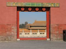 Forbidden city-5880. View throught the entrance at the Forbidden city,China stock photo