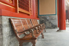 Forbidden City. Benches in forbidden city with red pillars Royalty Free Stock Photos