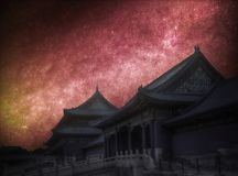 Forbidden City. Astrophotography, night starry sky. Forbidden City is the largest palace complex in the world. Located in the heart of Beijing. Astrophotography stock images