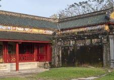 Forbidden City bak slotten av suverän harmoni, imperialistisk stad inom citadellen, ton, Vietnam arkivfoton