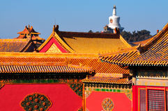 Forbidden City and Beihai Park. Lying at the center of Beijing, the Forbidden City, called Gu Gong, in Chinese, was the imperial palace during the Ming and Qing Stock Photos