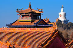 Forbidden City and Beihai Park. Lying at the center of Beijing, the Forbidden City, called Gu Gong, in Chinese, was the imperial palace during the Ming and Qing Stock Photo