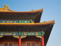 Forbidden City in Beijing. A part of roof inside the Forbidden City in Beijing. Blu sky in background Royalty Free Stock Photos