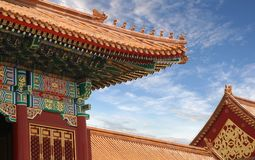 Forbidden City Beijing China. Details of a roof from a traditional fancy Chinese building at the Forbidden City in Beijing China stock image