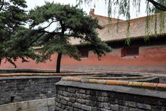 Forbidden City in Beijing, China with its typical red walls. royalty free stock images