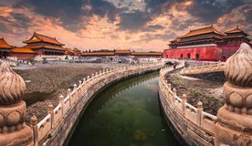 The Forbidden City of Beijing. A moat runs through the center of the Forbidden City in Beijing, China royalty free stock photography