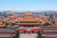 Higher view on Forbidden City in Beijing. Forbidden city in Beijing, one of the most popular tourist destinations in the world listed on UNESCO royalty free stock images