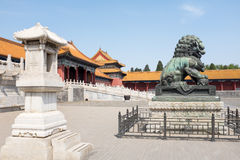 Forbidden city, Beijing. Forbidden city square with lion statue, Beijing, China Royalty Free Stock Photography
