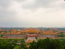Forbidden City in Beijing - view from the hill stock images