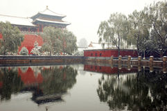 The forbidden city in big snow Royalty Free Stock Images