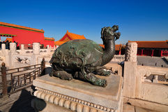 Forbidden City Bronze Tortoise. Lying at the center of Beijing, the Forbidden City, called Gu Gong, in Chinese, was the imperial palace during the Ming and Qing Stock Photography