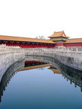 Forbidden city in CHina. Scenic view of architecture of Forbidden city reflecting on Golden Stream, Beijing, China Royalty Free Stock Photos