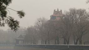 Forbidden city China park area and pollution mist. Forbidden city China park and trees and pollution mist stock video footage