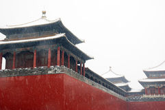 Forbidden city covered in the snow Stock Image