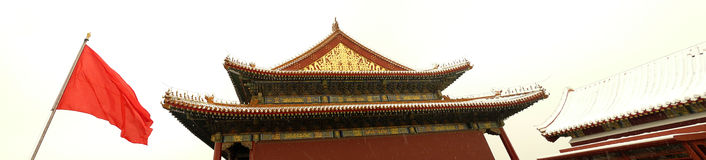 Forbidden city entrance gate side view Stock Photos